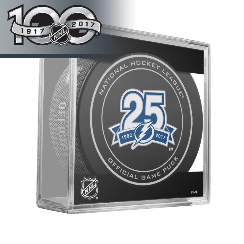 Tampa Bay Lightning 25th Anniversary Official NHL Centennial Game Puck - 2017