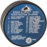 Rare Colorado Avalanche Team Roster Puck 2000-01