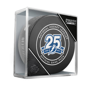 2018 Tampa Bay Lightning 25th Anniversary Stanley Cup Playoffs Official Game Puck