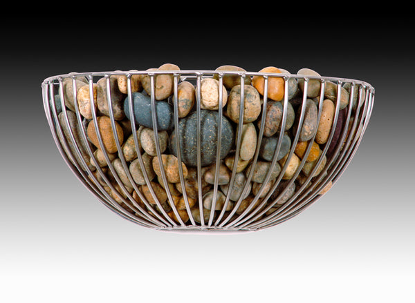 basket of pebbles wall sconce