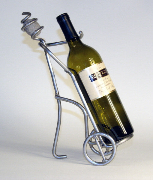 man carting a wine bottle