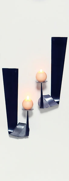flat metal wall candle holder medium