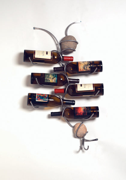 6 bottle wall wine holder with two stones