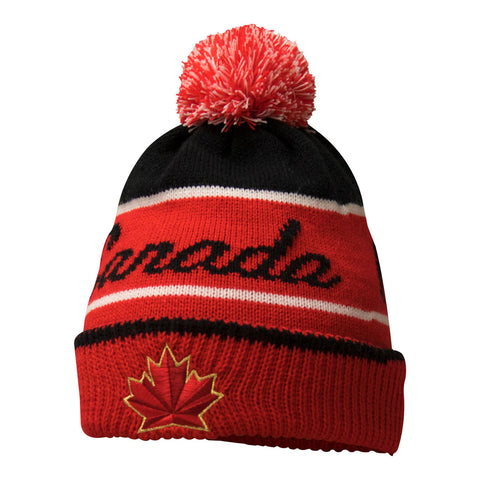 Team Canada Nike Youth 2018 Olympic Red Script Pom Beanie