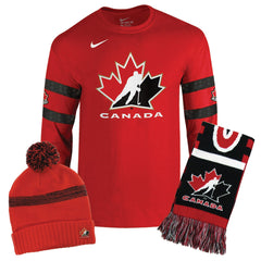 Full Fan Set Up Bundle - Nike L/S Replica Cotton Tee + Nike Pom Beanie + Scarf