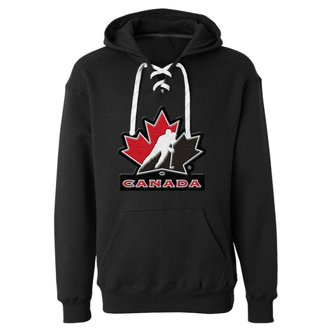 Team Canada Skate Lace Hockey Hoody - Black - teamcanada