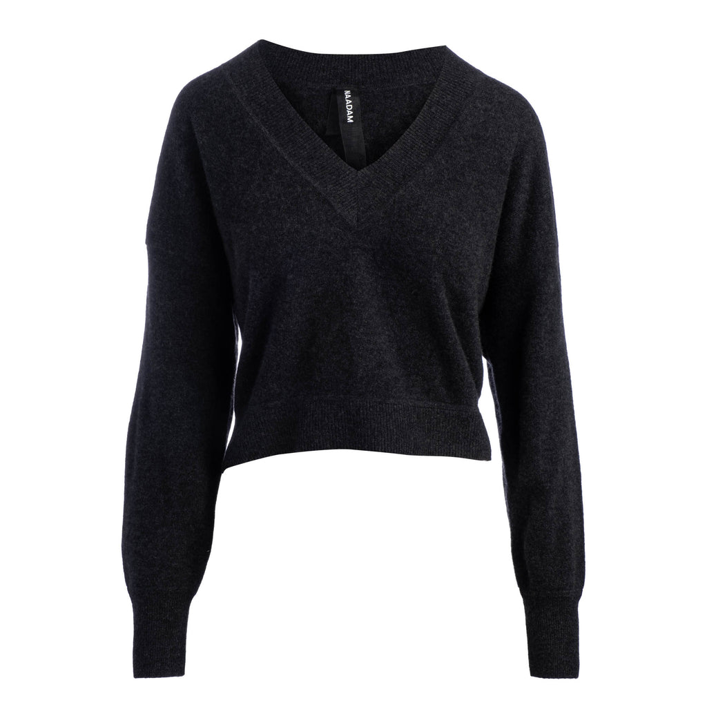 Deep V-neck Cropped Pullover in Smoke