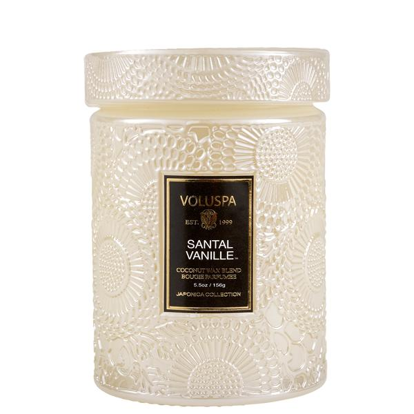 Small Embossed Jar Candle with Lid in Santal Vanille