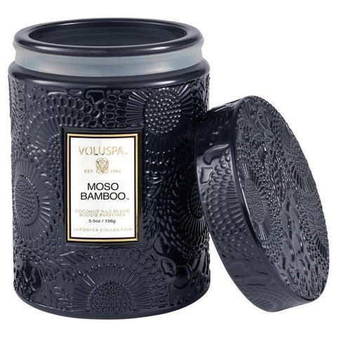 Small Embossed Jar Candle with Lid in Moso Bamboo