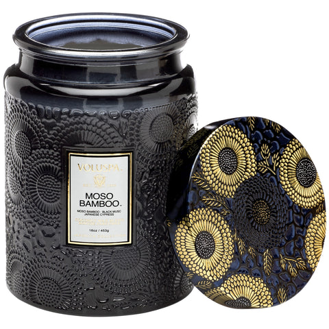 Large Embossed Glass Jar Candle in Moso Bamboo