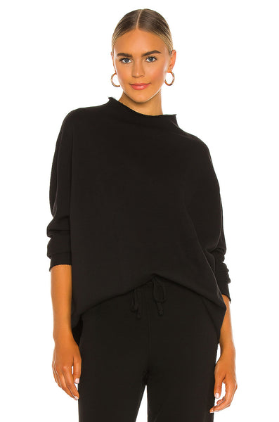 Long Sleeve Funnel Neck Capelet in Black