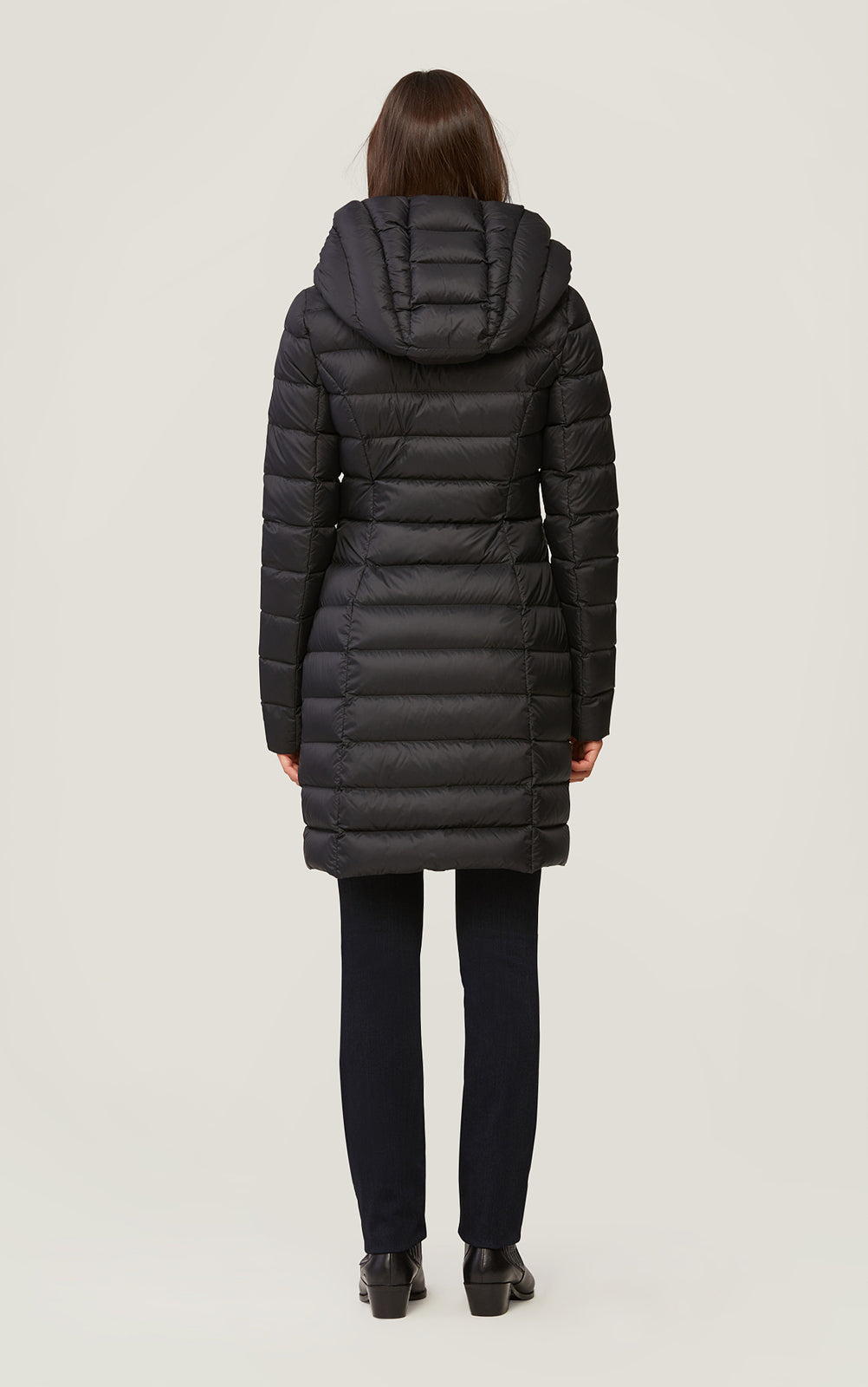 Karelle Lightweight Down Coat in Black