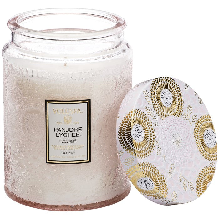 Large Embossed Glass Jar Candle in Panjore Lychee
