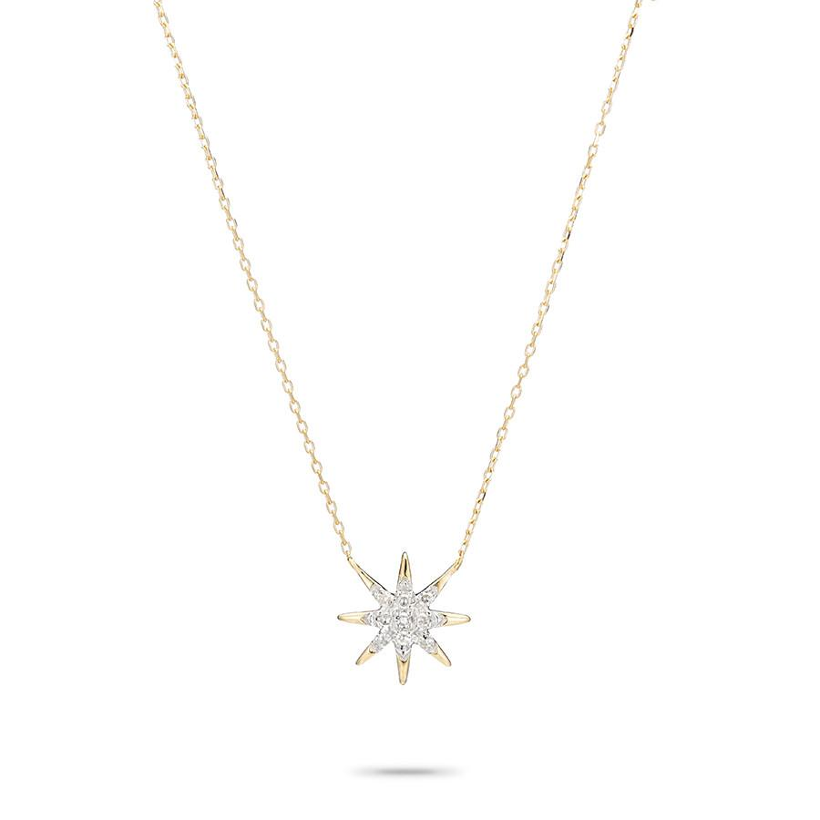 Solid Pavé Starburst Necklace in Yellow Gold
