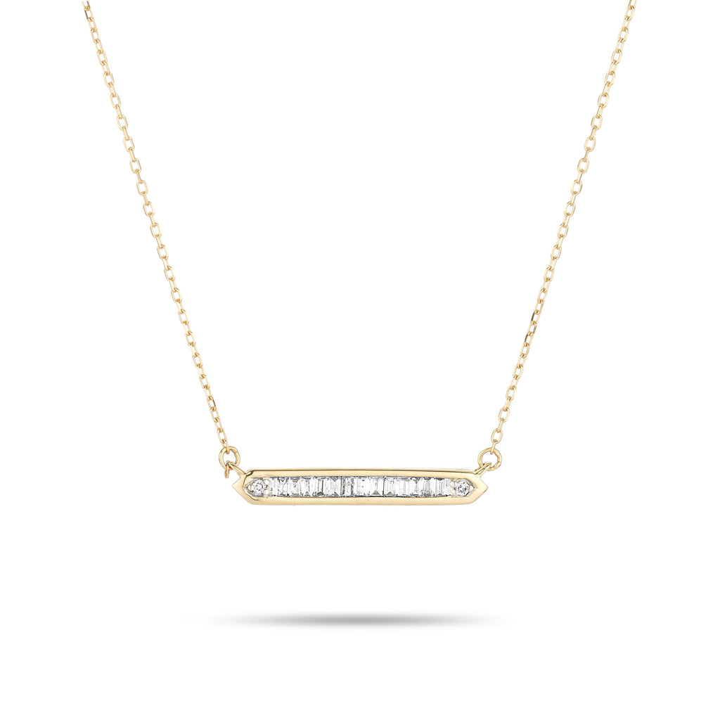 Baguette Bar Necklace in Yellow Gold