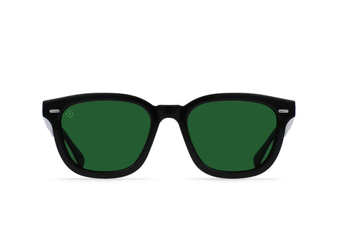 Myles Sunglasses in Crystal Black/Green Polarized