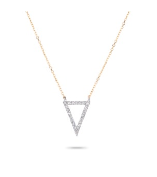 Pave Open Triangle Necklace in Yellow Gold