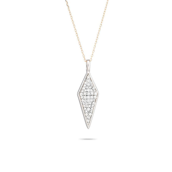 Long Solid Pavé Diamond Necklace in Mixed Metal
