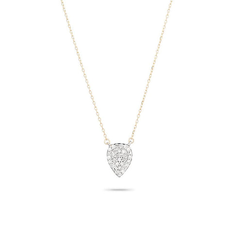 Super Tiny Solid Pavé Teardrop Necklace in Yellow Gold