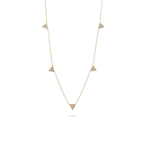 Super Tiny Solid Pavé Triangle Chain Necklace in Yellow Gold