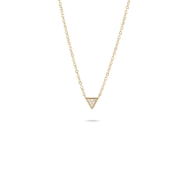 Super Tiny Solid Pavé Triangle Necklace in Yellow Gold