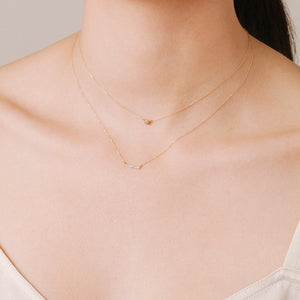 Pavé Bar Necklace in Yellow Gold