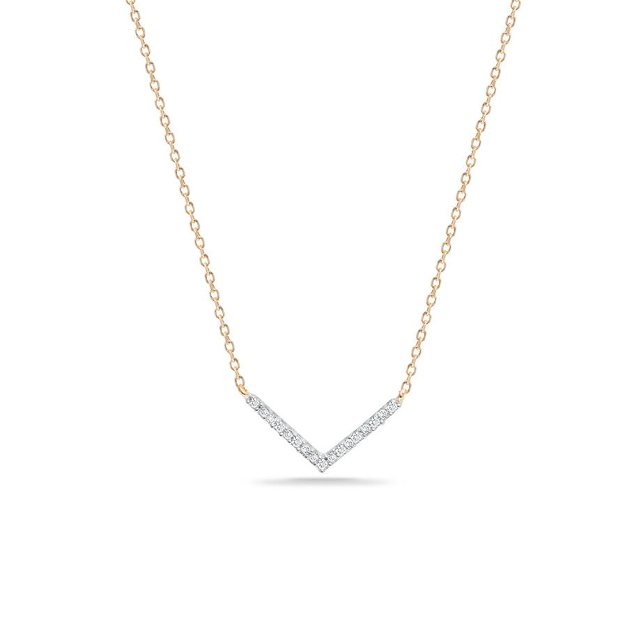 Tiny Pavé V Necklace in Yellow Gold
