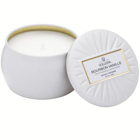 Petite Decorative Tin Candle in Bourbon Vanille