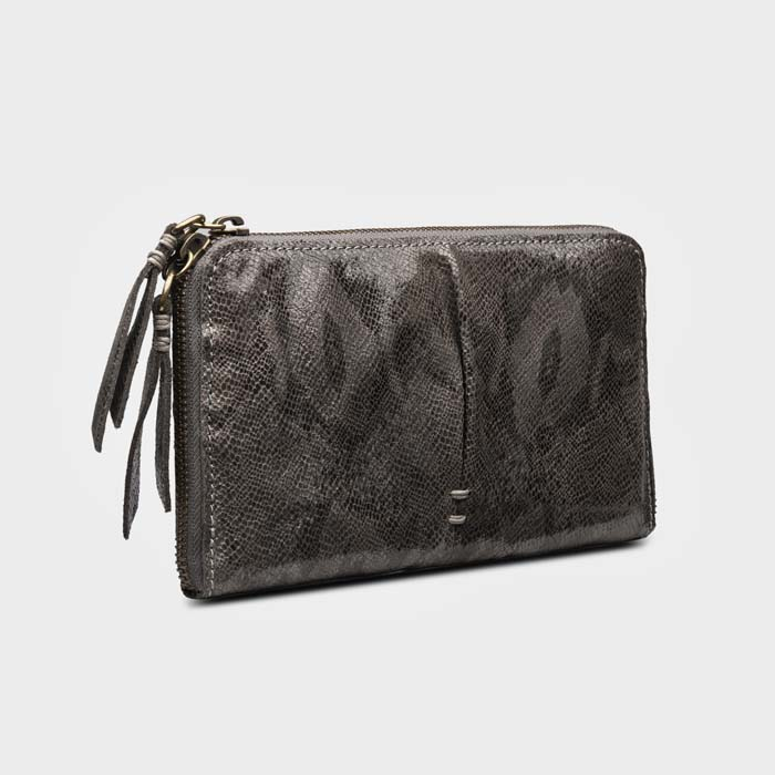 Clingy Washed Lambskin Wallet in Grey Metallic Python