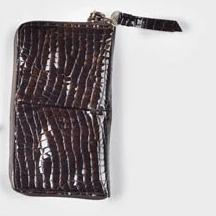 Clingy Wallet in Chocolate Brown Patent Croc