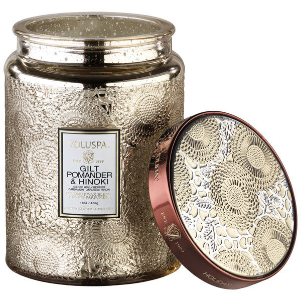 Large Embossed Glass Jar Candle in Gilt Pomander & Hinoki by Voluspa - Strut Shoes & Clothing