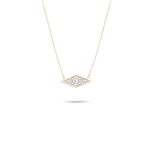 Tiny Solid Pavé Diamond Necklace in Yellow Gold