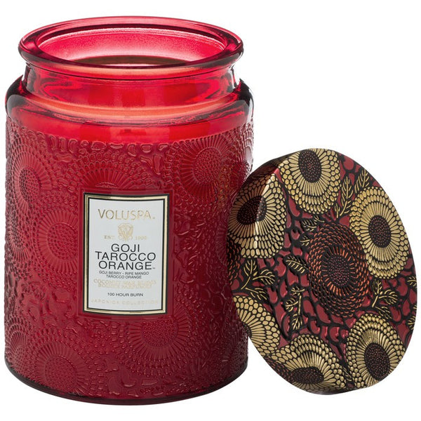 Large Embossed Glass Jar Candle in Goji Tarocco Orange by Voluspa - Strut Shoes & Clothing