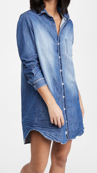 Mary Woven Button Up Dress in Distressed Vintage Wash