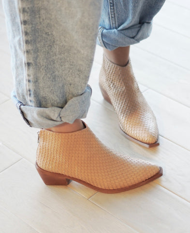 West Bootie in Camel Reptile Calf