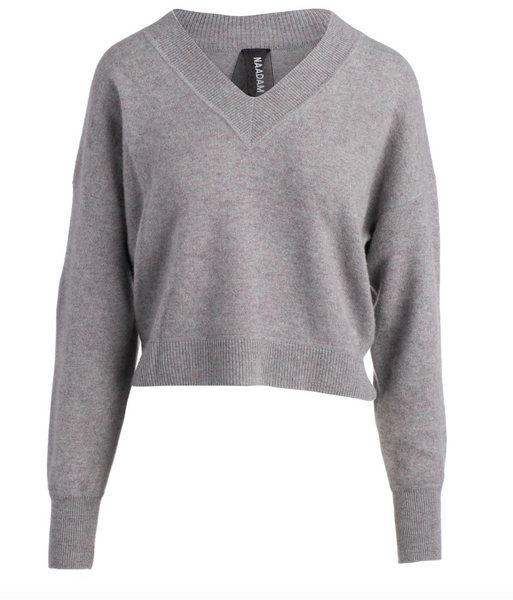 Deep V-Neck Pullover in Marled Gray