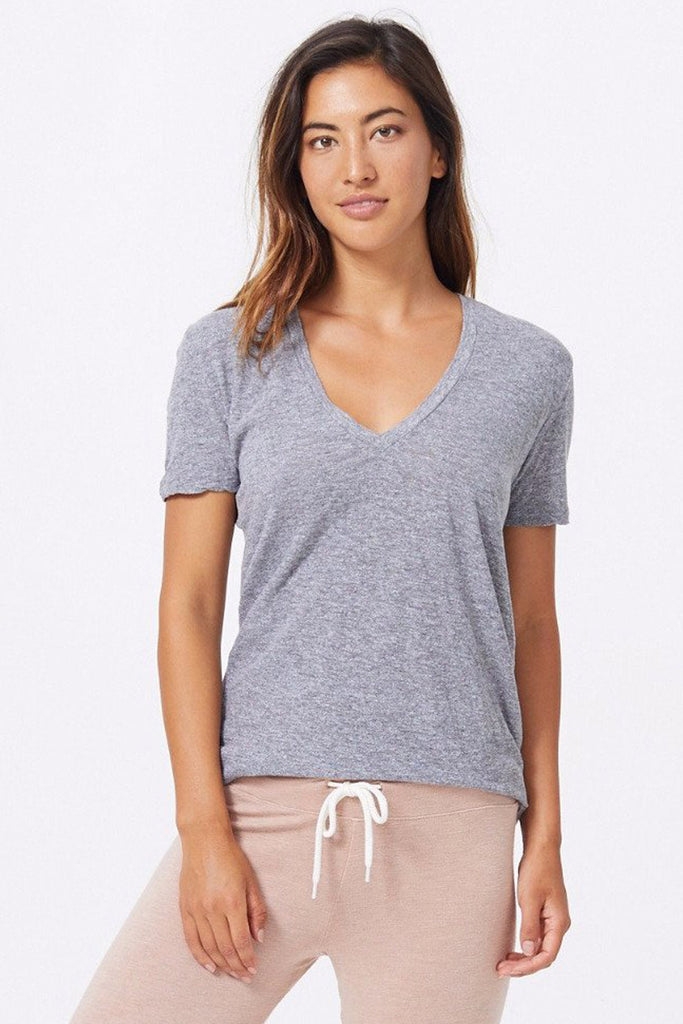 Relaxed V Neck Tee in Granite Jersey