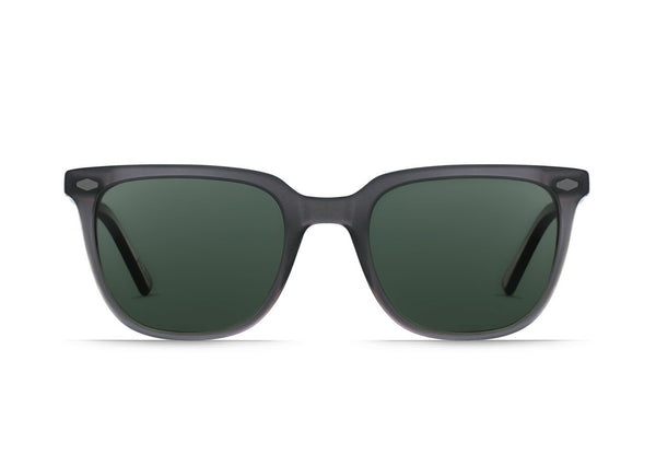 Arlo Sunglasses in Matte Grey Crystal/Green Polarized