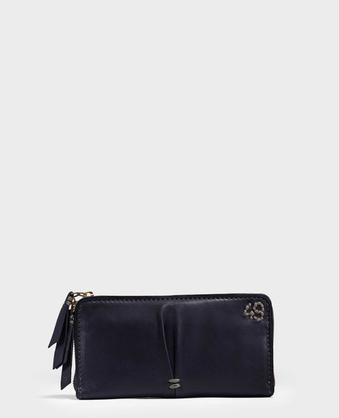 Clingy Washed Lambskin Wallet in Navy