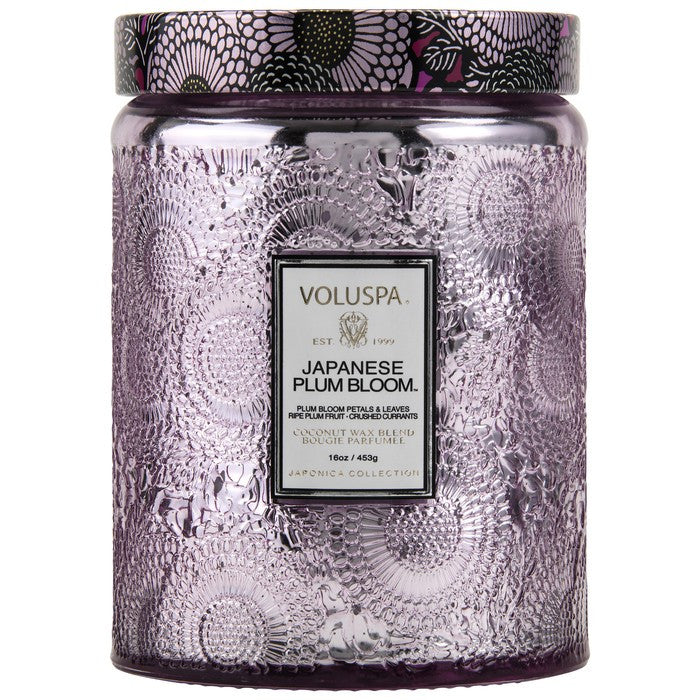 Large Embossed Glass Jar Candle in Japanese Plum Bloom by Voluspa - Strut Shoes & Clothing
