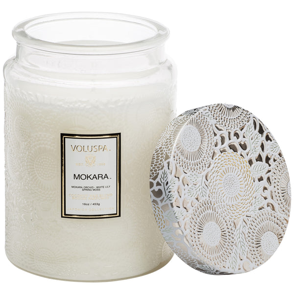 Large Embossed Glass Jar Candle in Mokara