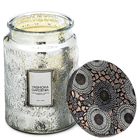 Large Embossed Glass Jar Candle in Yashioka Gardenia by Voluspa - Strut Shoes & Clothing