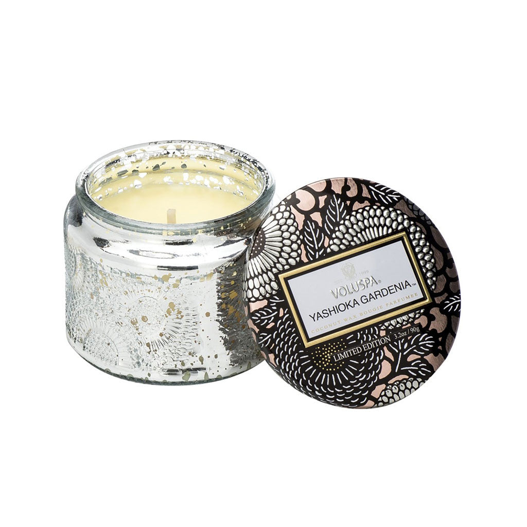 Petite Embossed Glass Jar Candle in Yashioka Gardenia