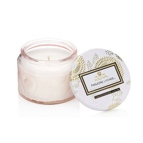 Petite Embossed Glass Jar Candle in Panjore Lychee by Voluspa - Strut Shoes & Clothing