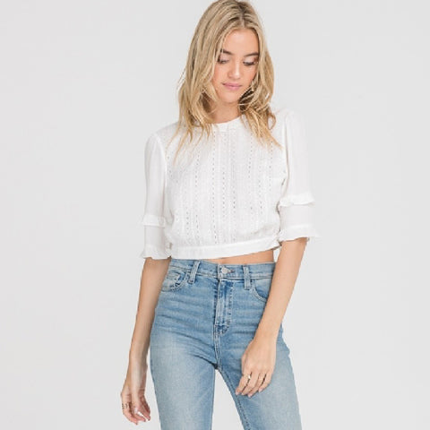 LUSH | WOVEN TOP WITH LACE TRIM