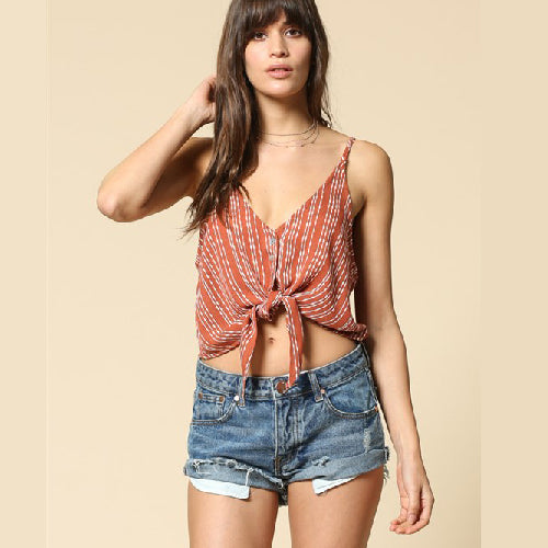 By Together |  V-neck Front Tie Vertical Print Crop Top