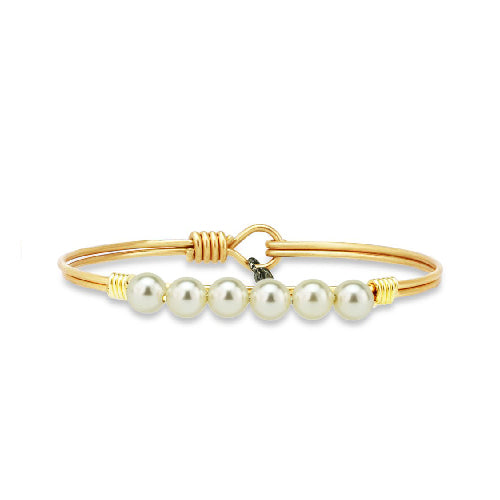 Luca + Danni | Crystal Pearl Bangle Bracelet In Classic White
