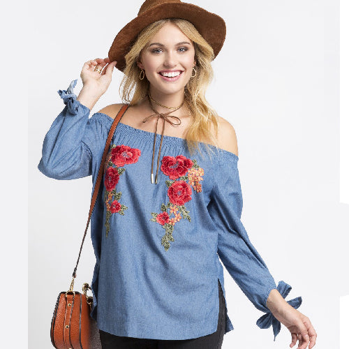 Andree | Denim Embroider Off Shoulder Top