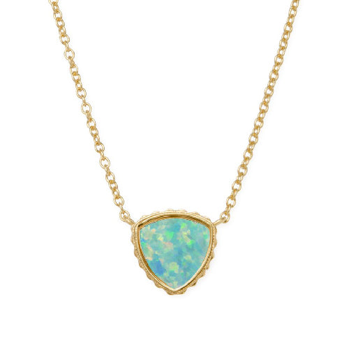 Luca + Danni | Sterling Silver Trillion Necklace In Sea Foam Opal
