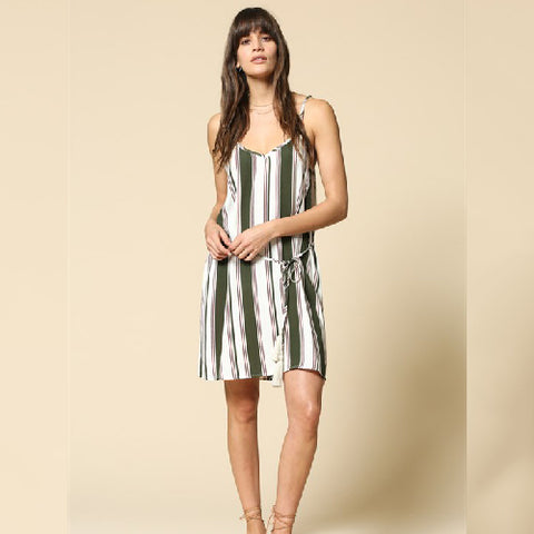 By Together | Multi Width Vertical Stripe Print Cami Dress